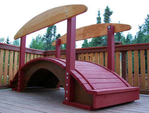 Decorative Landscaping and Garden Bridge designed and built by Ted Soloview, YourLand US Construction Co., Anchorage, Alaska